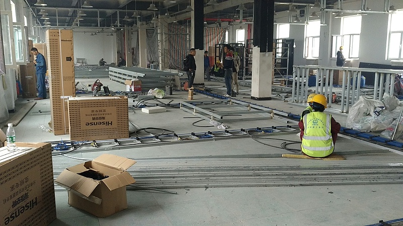 机房防静电地板施工现场